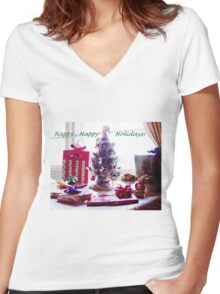 Happy Happy Holidays Women's Fitted V-Neck T-Shirt