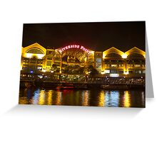 Shimmer of the water at Clarke Quay in Singapore Greeting Card