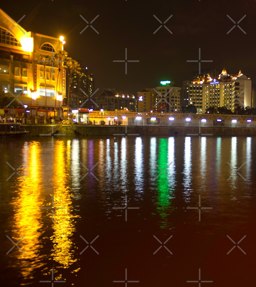 Water and lights at Clarke Quay in Singapore by ashishagarwal74