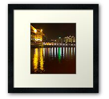 Water and lights at Clarke Quay in Singapore Framed Print
