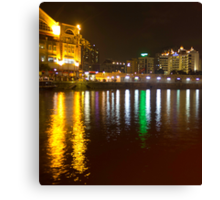 Water and lights at Clarke Quay in Singapore Canvas Print