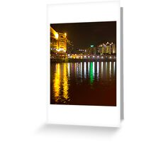Water and lights at Clarke Quay in Singapore Greeting Card