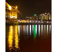 Water and lights at Clarke Quay in Singapore Photographic Print