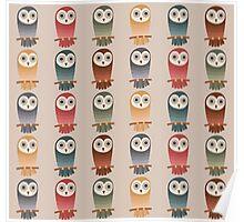 Woodland Owls Seamless Pattern Poster