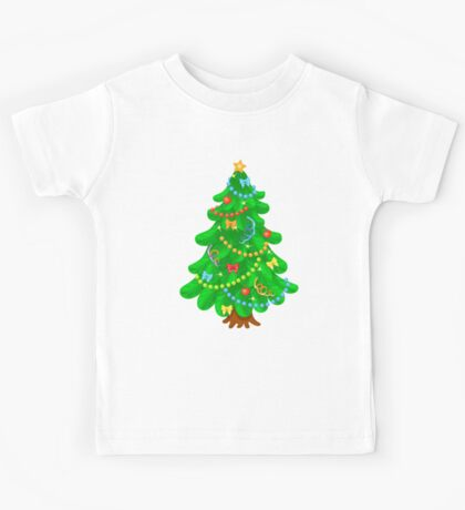 Christmas tree with bright toys in white background Kids Tee