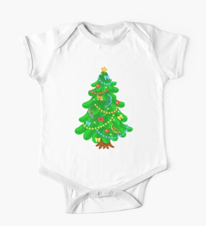 Christmas tree with bright toys in white background One Piece - Short Sleeve