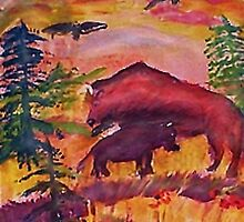 Let the Buffalo roam, Southwestern theme series, watercolor by Anna  Lewis