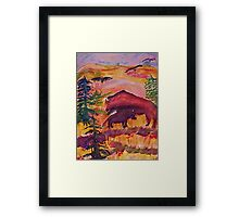 Let the Buffalo roam, Southwestern theme series, watercolor Framed Print