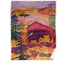 Let the Buffalo roam, Southwestern theme series, watercolor Poster