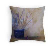 The Artist's Brushes Still Life in Oils Throw Pillow