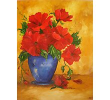Red Flowers in A Blue Vase Photographic Print