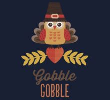 Thanksgiving Owl in Turkey Costume and Pilgrim Hat Kids Clothes