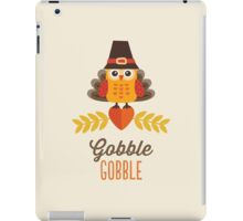 Thanksgiving Owl in Turkey Costume and Pilgrim Hat iPad Case/Skin