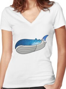 Wailord - Pokémon Art Women's Fitted V-Neck T-Shirt