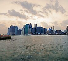 Panoramic view of South Manhattan at Sunset by mattiaterrando