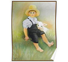 Amish Little Boy With Sheep Poster