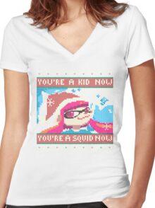 Knitted Ugly Sweater Splatoon Girl from Splatoon Women's Fitted V-Neck T-Shirt