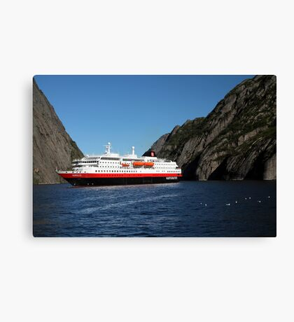 Hurtigruten Ship in Troll Fjord Canvas Print