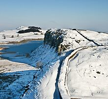 Winter on Hadrian's Wall at Highshield Crag by Joan Thirlaway