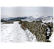 Winter snow over Hadrian's Wall at Hotbank Crag Poster