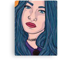 Blue Hair 90's girl Canvas Print