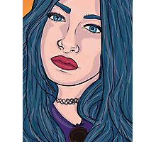 Blue Hair 90's girl Photographic Print