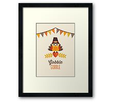 Thanksgiving Owl in Turkey Costume and Pilgrim Hat Framed Print
