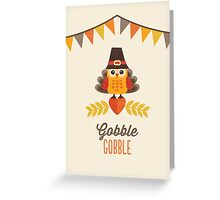 Thanksgiving Owl in Turkey Costume and Pilgrim Hat Greeting Card