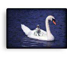 Ride a white swan Canvas Print