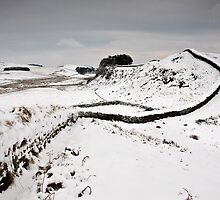 Snow on Hadrian's Wall at Housesteads Crag by Joan Thirlaway