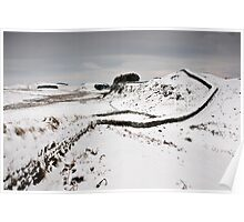 Snow on Hadrian's Wall at Housesteads Crag Poster