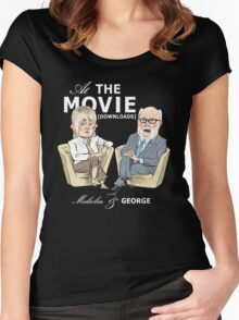 At the Movie Downloads with Malcolm and George Women's Fitted Scoop T-Shirt