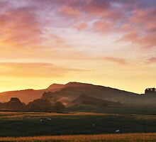 Sunrise over Hadrian's Wall at Cawfields Crag by Joan Thirlaway