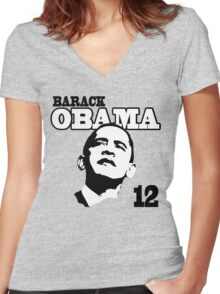 Women's Obama 2012 Shirt Women's Fitted V-Neck T-Shirt