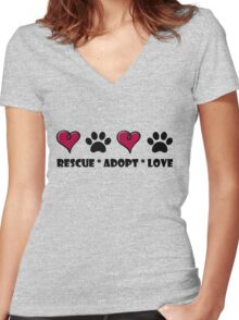 Rescue * Adopt * Love Women's Fitted V-Neck T-Shirt