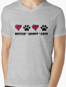 Rescue * Adopt * Love Mens V-Neck T-Shirt