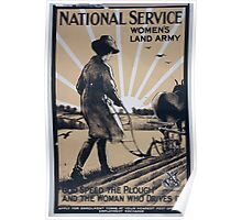 National Service Womens Land Army God speed the plough and the woman who drives it 560 Poster