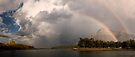 Double Rainbow over Waterton Lakes National Park and The Prince of Wales Hotel. by Alex Preiss