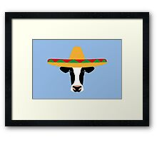 Cow Wearing a Sombrero Framed Print