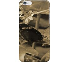 Sepia Butterfly On a Leaf iPhone Case/Skin