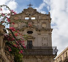 Sunlit Pink Bougainvillea at Santa Lucia alla Badia Church in Syracuse, Sicily by Georgia Mizuleva