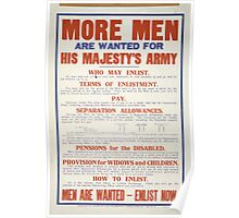 More men are wanted for his majestys army Men are wanted enlist now 287 Poster