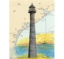 Matagorda Island Lighthouse TX Chart Cathy Peek Photographic Print