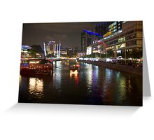 Boat making its way down river at Clarke Quay in Singapore Greeting Card