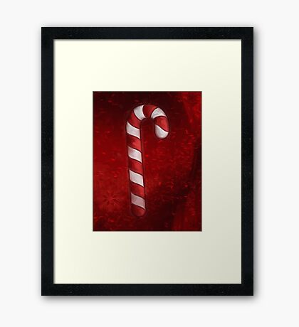 A Candy Cane For Christmas Framed Print