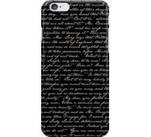 Pride and Prejudice 1st Chapter Handwriting iPhone Case/Skin