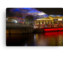 Blue canopy and river water at Clarke Quay in Singapore Canvas Print