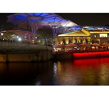 Blue canopy and river water at Clarke Quay in Singapore Photographic Print