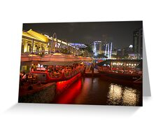 Boats moored on water at Clarke Quay in Singapore  Greeting Card