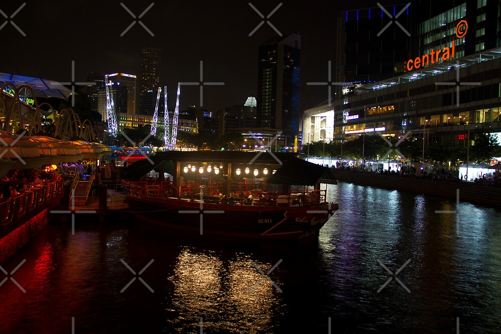 Boats moored at Clarke Quay in Singapore by ashishagarwal74